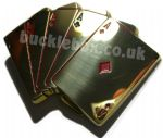 CARDS - FIVE ACES Brass belt buckle + display stand